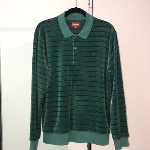 Supreme striped velour long sleeve polo